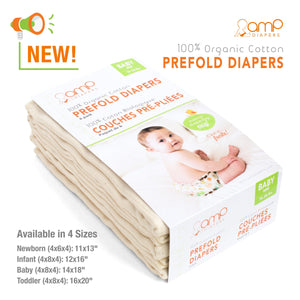 AMP Organic Cotton Prefolds (6 Pack)