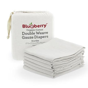 Blueberry Organic Cotton Gauze Flat Diapers - White - 6 Pack