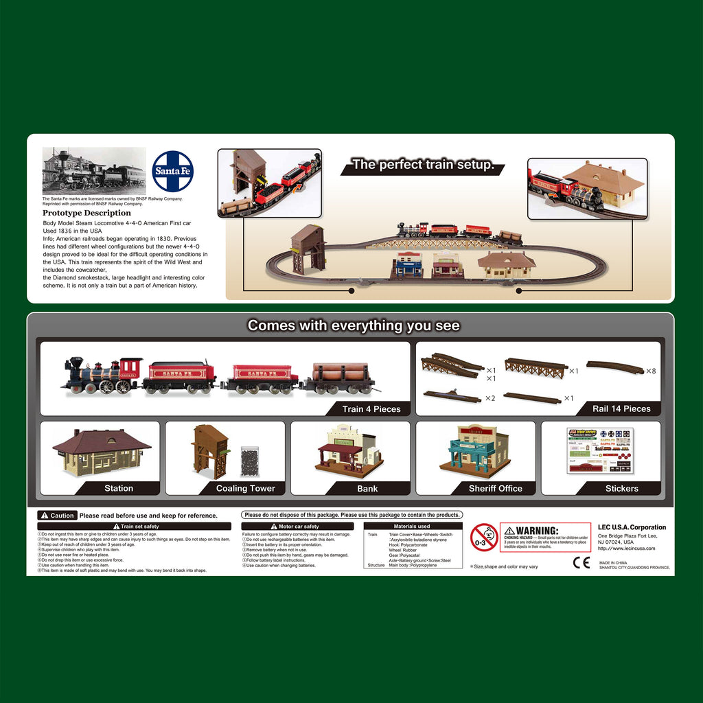 Classic 1880s Santa Fe Steam Locomotive Train Set