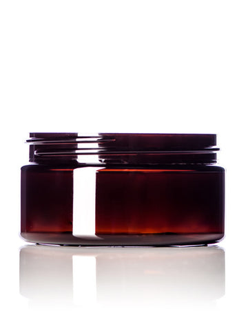 8 oz PET Amber Single-Wall Jar with Lid