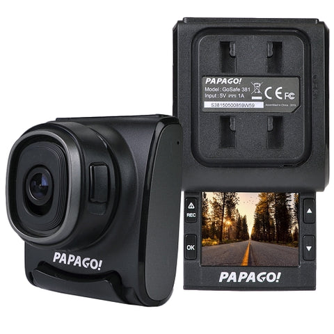 Image of Refurbished PAPAGO! LORA GoSafe 381 1080p Dash Cam w/2 Slide-Out LCD Screen