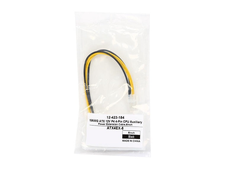 Coboc ATX4EX-8 8in ATX 12V P4 4-Pin CPU Auxiliary Power Extension Cable,F/M