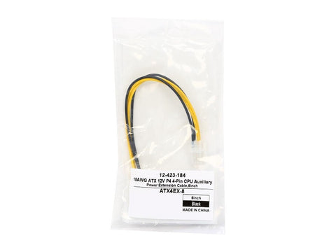 Image of Coboc ATX4EX-8 8in ATX 12V P4 4-Pin CPU Auxiliary Power Extension Cable,F/M