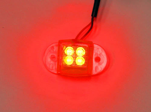 Logisys MDLED4RD 12V Water Resistant Quad LED Light (Red)