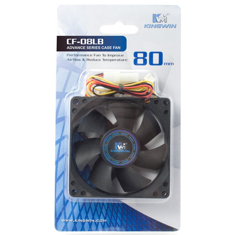 Kingwin CF-08LB 80mm Long-Life Bearing 25dB 1700RPM Case Fan