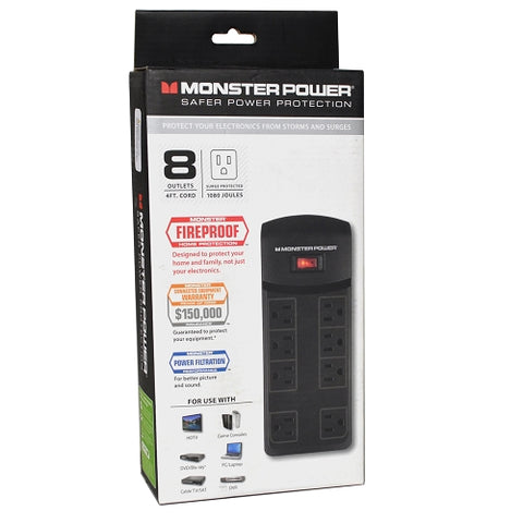 Monster Power MP ME 800 BX Fireproof 8-Outlet 120V 1080 Joules Surge Protector - Black