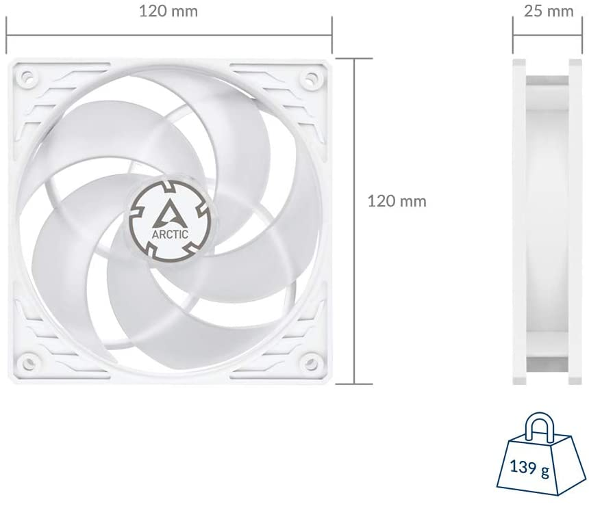 Arctic P12 PWM Pressure Optimised 120mm Fan with PWM (White/Transparent)