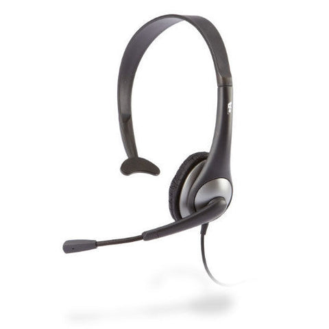 Cyber Acoustics AC-104 Mono Headset with Microphone & Y-Adapter (Gray)