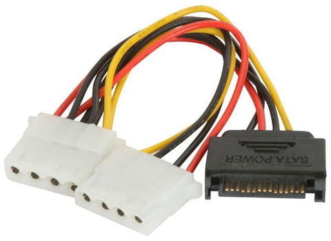 Athena Power CABLE-S15M42 15pin SATA to Dual 4pin Molex Power Adapter