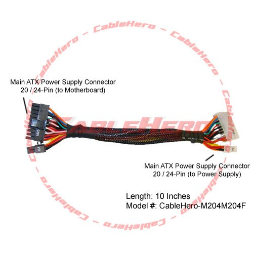 "Athena Power M204M204F 10"" 20/24pin Extension/Conversion Cable"