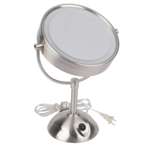 Conair Hospitality BE119WH LED Lighted Vanity Mirror - 8.5-in Diameter - Satin Nickel