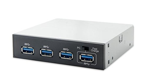 Syba SY-HUB20134 4-Port Front Panel USB 3.0 Hub with Quick Charge Port