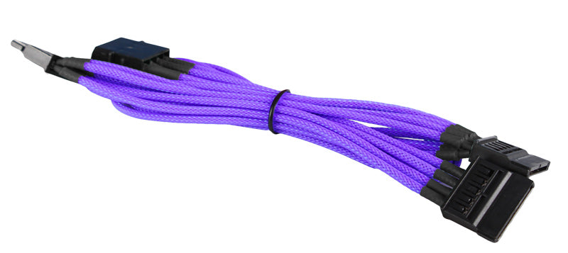BattleBorn Purple Braided Molex to 3 x SATA Male Connectors Cable
