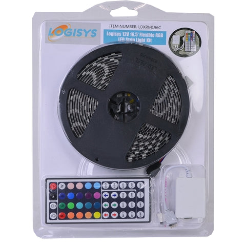 Image of Logisys LDXRM196C 12V Flexible RGB 150-LED 16.5ft Multi-Color Strip Light Kit w/Remote