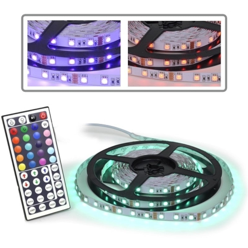 Logisys LDXRM196C 12V Flexible RGB 150-LED 16.5ft Multi-Color Strip Light Kit w/Remote