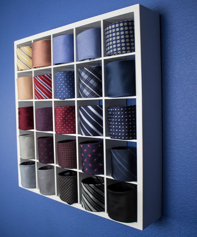Image of The Tie Wall Tie Belt Socks Scarves Organizer Display Cabinet - White
