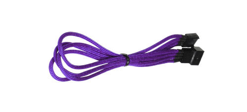 BattleBorn Purple Braided Male to Female 4-Pin 45cm Fan Extender Cable