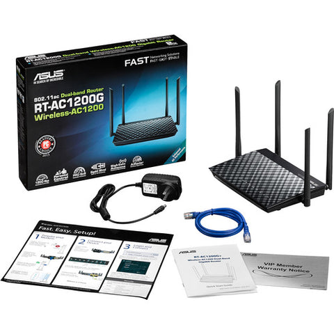 Image of ASUS RT-AC1200G AC1200 Dual-Band Wi-Fi Router with four 5dBi antennas and Parental Controls