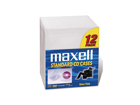 Maxell CD/DVD Jewel Cases CD-360 - Jewel Case - Book Fold - Plastic - Clear - 12 pack