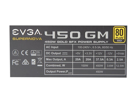 Image of EVGA 123-GM-0450-Y1 SuperNOVA GM 450 W 80+ Gold Certified Fully Modular SFX Power Supply
