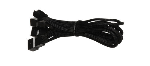 BattleBorn Black 3pin Fan to 3 x 3pin Fan Header Braided Sleeve Cable