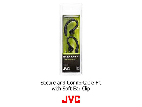 JVC Sweat Proof Sports Design - Stereo, Black, 3.5mm, Wired, Earbud, Over-the-ear, Binaural, In-ear Headphones