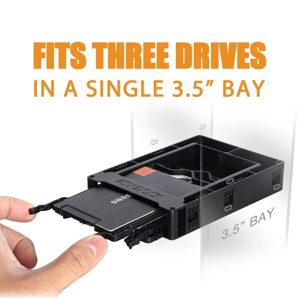 ICY DOCK Triple 2.5 SSD / HDD Bracket / Mount / Adapter / Kit for Internal 3.5 Drive Bay - EZ-FIT Trio MB610SP