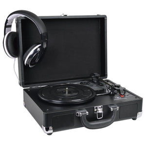 Refurbished Innovative Technology ITVS-550BBT-BK 3-Speed Vintage Bluetooth Suitcase Turntable Black