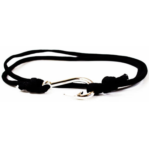 Black Paracord Fish Hook Bracelet Silver Hook