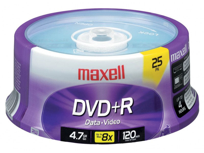 Maxell 639011 4.7GB DVD+R Optical Disks (25-Pack)