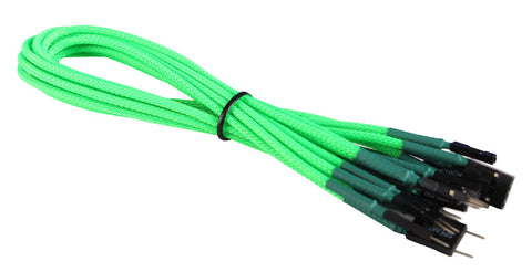 Image of BattleBorn 30cm Green Braided Front Panel Cable Set