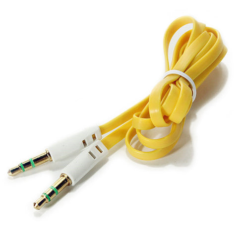 Image of BattleBorn 3 Foot Yellow Flat 3.5mm Audio Auxiliary Connector Cable