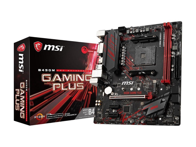 MSI B450M GAMING PLUS AM4 AMD B450 SATA 6Gbs USB 3.1 HDMI Micro ATX AMD Motherboard