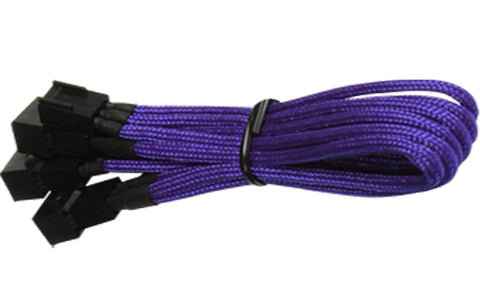 Image of BattleBorn Purple Braided 3-Pin Fan to 3 x 3-Pin Cable