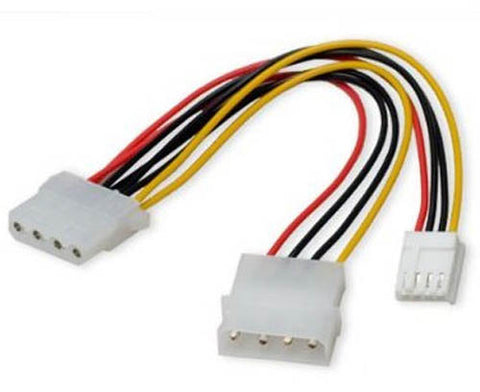 "Image of Syba 5"" 4-Pin Molex to 4-Pin Molex & Floppy Power Adapter"