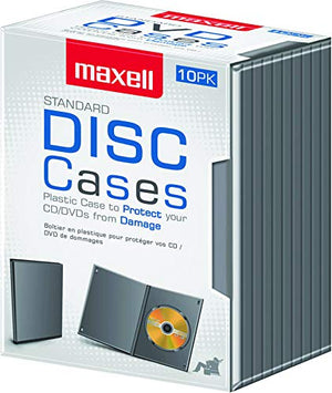 Maxell DVD-JC10 DVD Storage Boxes - Jewel Case - Book Fold - Black CD/DVD DISC STORAGE CASES