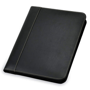 Samsill Contrast Stitch Leather Zipper Padfolio 71720