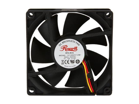 Rosewill RFA-80-K - 80mm Computer Case Cooling Fan with LP4 Adapter - Sleeve Bearing Silent Case Fan