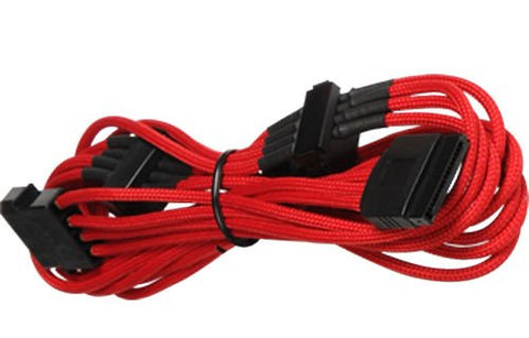 Image of BattleBorn Molex to 5 x SATA Cable - Braided Red