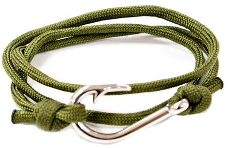 Image of Olive Braided Paracord Fish Hook Bracelet Silver Hook