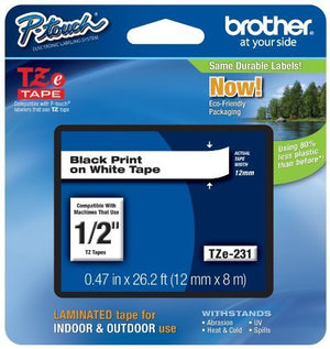 Brother TZE-231 Black on White Laminated Label Tape