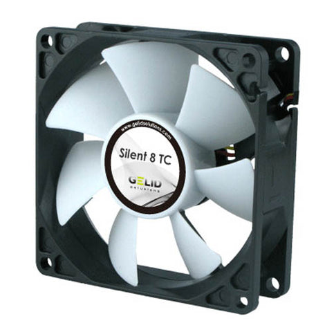 Gelid FN-TX08-20 Silent 8 TC 80mm Temp Controlled Case Fan with 3-Pin