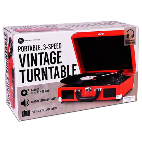 Image of Innovative Technology Nostalgic 3-Speed Vintage Suitcase Turntable, Red
