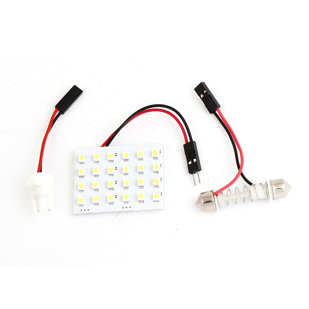 SwitchCarParts White 24-LED 1210 SMD Dome Lamp Panel w T10 Festoon Adapter for Automobiles