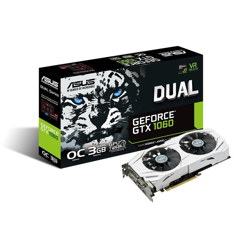ASUS GTX 1060 3GB Dual-fan OC Edition VR Ready Dual HDMI DP 1.4 Graphics Card DUAL-GTX1060-O3G