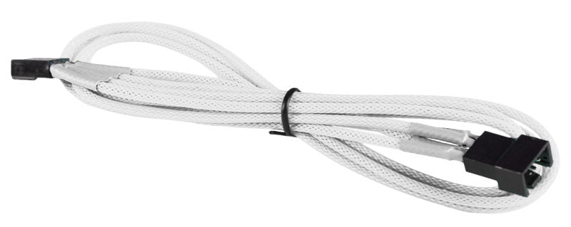 BattleBorn 4-Pin Fan M/F Single Cable - Braided Sleeve White
