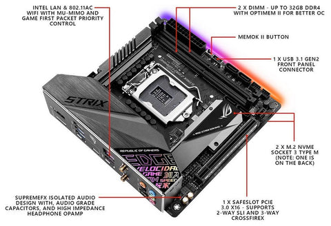 Image of ASUS ROG Strix Z390-I Gaming Motherboard LGA1151 Mini ITX DDR4 DP HDMI M2 USB 3.1 Gen2 Onboard 802.11 ac Wi-Fi