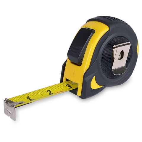 25ft Rubberized Tape Measure w/Belt Clip (Black/Yellow)