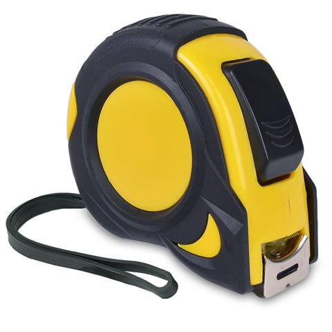 Image of 25ft Rubberized Tape Measure w/Belt Clip (Black/Yellow)
