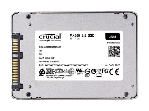 "Image of Crucial MX500 2.5"" 250GB SATA III 3D NAND Internal Solid State Drive (SSD) CT250MX500SSD1"